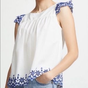 Madewell White Top with Navy Eyelet Detail Sz 4